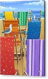 Rainbow Deckchairs Acrylic Print