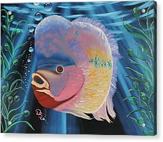 Acrylic Print featuring the painting Rainbow Devil Fish by Dianna Lewis