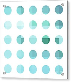 Rainbow Dots Aqua  Acrylic Print by Pixel Chimp