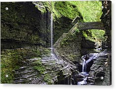 Acrylic Print featuring the photograph Rainbow Falls And Stone Bridge by Gene Walls