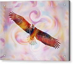 Rainbow Flying Eagle Watercolor Painting Acrylic Print