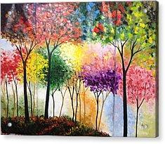 Rainbow Forest Acrylic Print by Shilpi Singh