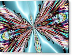 Rainbow Glass Butterfly On Blue Satin Acrylic Print by Maria Urso