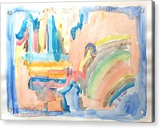Acrylic Print featuring the painting Rainbow In A Box by Esther Newman-Cohen