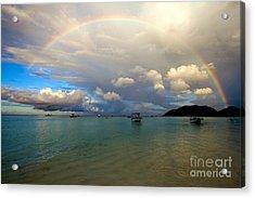 Rainbow In The Seychelles Acrylic Print by Tim Holt
