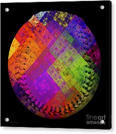 Rainbow Infusion Baseball Square Acrylic Print by Andee Design