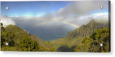 Rainbow Kalalau Valley Acrylic Print by Norman Blume