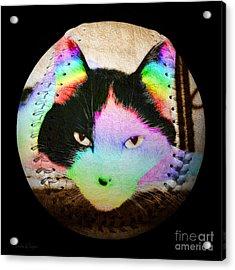 Rainbow Kitty Baseball Square Acrylic Print