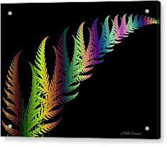 Rainbow Leaves Fractals Acrylic Print by Mikki Cucuzzo