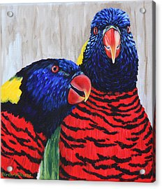 Acrylic Print featuring the painting Rainbow Lorikeets by Penny Birch-Williams