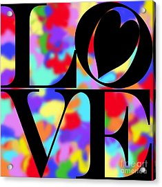Rainbow Love In Black Acrylic Print by Kasia Bitner