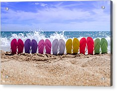 Rainbow Of Flip Flops On The Beach Acrylic Print