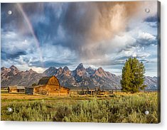 Rainbow On Moulton Barn - Horizontal - Grand Teton National Park Acrylic Print by Andres Leon