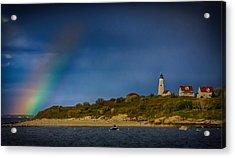 Rainbow Over Baker Island Lighthouse Acrylic Print by Jeff Folger