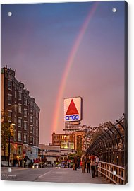 Rainbow Over Fenway Acrylic Print by Paul Treseler