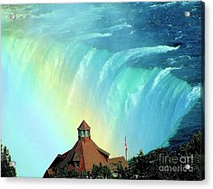 Acrylic Print featuring the photograph Rainbow Over Horseshoe Falls by Janette Boyd