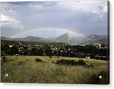 Acrylic Print featuring the photograph Rainbow Over Lake Estes by Shane Bechler