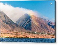 Rainbow Over Maui Mountains   Acrylic Print