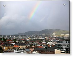 Rainbow Over Oslo Acrylic Print by Carol Groenen