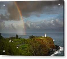 Rainbow Over Kilauea Lighthouse On Kauai Acrylic Print