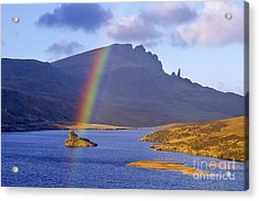 Rainbow Over The Storr Acrylic Print by Derek Croucher