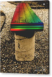 Rainbow Park Bench Acrylic Print by ImagesAsArt Photos And Graphics