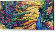 Rainbow Peacock Acrylic Print by Christy  Freeman