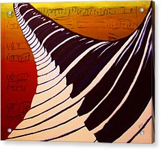 Rainbow Piano Keyboard Twist In Acrylic Paint With Sheet Music Notes In Blue Yellow Orange Red Acrylic Print