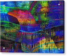 Rainbow Raven Acrylic Print