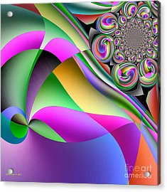 Rainbow Ribbons In The Wind Abstract Art Acrylic Print