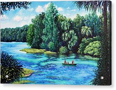 Acrylic Print featuring the painting Rainbow River At Rainbow Springs Florida by Penny Birch-Williams