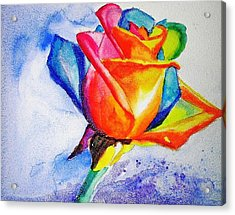 Rainbow Rose Acrylic Print by Carlin Blahnik