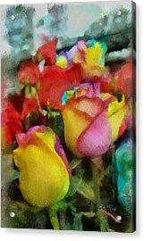 Rainbow Roses Watercolor Digital Painting Acrylic Print by Eti Reid
