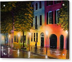 Rainbow Row Acrylic Print