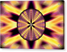 Acrylic Print featuring the drawing Rainbow Seed Of Life by Derek Gedney
