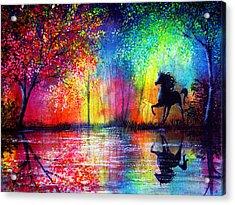 Rainbow Stallion Acrylic Print by Ann Marie Bone