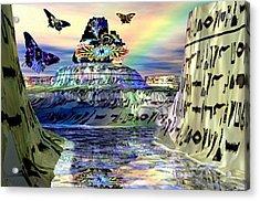 Rainbow Temple Acrylic Print by Rebecca Phillips