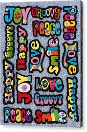 Rainbow Text Acrylic Print by Tim Gainey