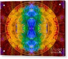 A Rainbow Of Chaos Abstract Mandala Artwork By Omaste Witkowski Acrylic Print by Omaste Witkowski