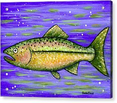 Acrylic Print featuring the painting Rainbow Trout by Sandra Estes