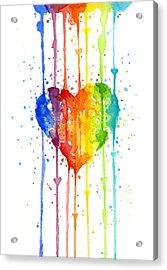 Rainbow Watercolor Heart Acrylic Print by Olga Shvartsur