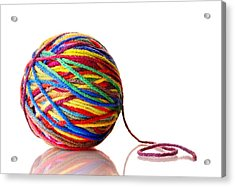Rainbow Yarn Acrylic Print by Jim Hughes
