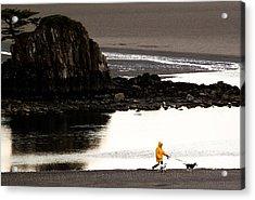 Raincoat Dog Walk Acrylic Print by John Daly