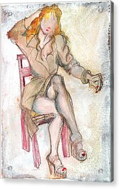 Raincoat Girl Acrylic Print by Carolyn Weltman
