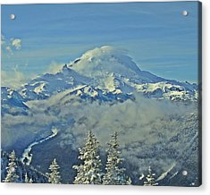 Rainier Cloaked In Winter Acrylic Print by Jeff Cook