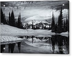 Rainier Reflections Acrylic Print by Mike  Dawson
