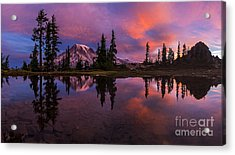 Rainier Soaring Sunrise Reflection Acrylic Print by Mike Reid
