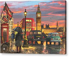 Raining In Parliament Square Acrylic Print by Dominic Davison