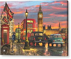 Raining In Parliament Square Variant 1 Acrylic Print by Dominic Davison