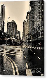 Raining On Flatiron Acrylic Print by David Bearden